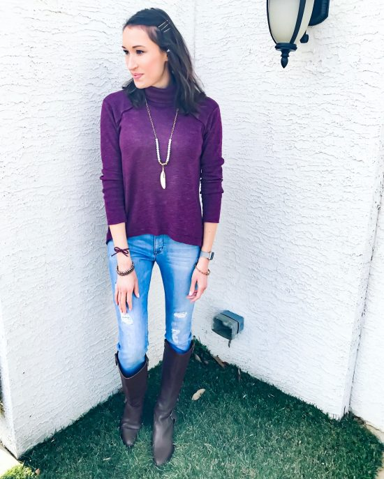 early spring outfit ideas- free people open-back turtle neck