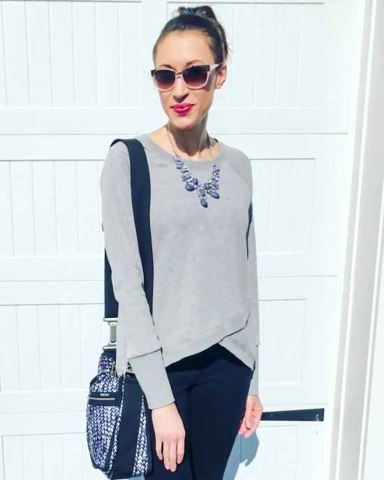 early spring outfit ideas- sweatshirt with statement necklace