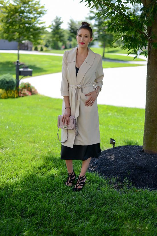 Two Feathers, Trench Coat, Fall Fashion, Fall 2017, Slip Dress