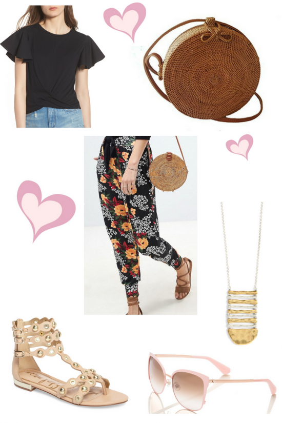 floral pants and rattan bag