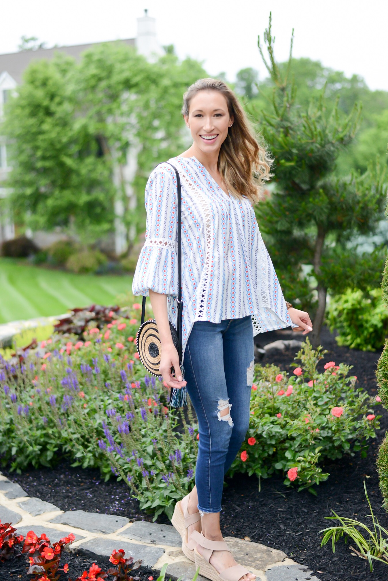 Summer Fashion Amazon Finds Under $21 (See My Outfits!)- boho top, circle bag, wedges, distressed jeans