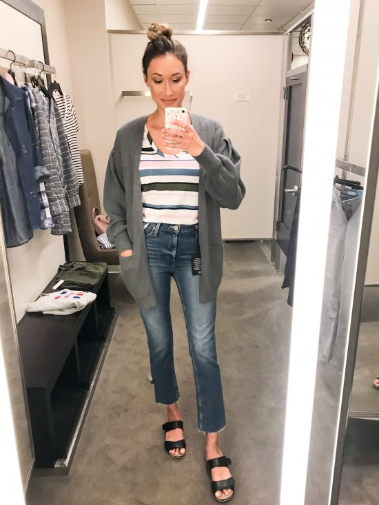 What I Bought from the 2018 Nordstrom Anniversary Sale- balloon sleeve cardigan and striped pocket tee