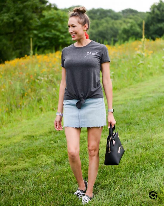 Instagram Roundup- Summer 2018- Get it it girl tee and denim mini skirt, cat Kate Spade bag