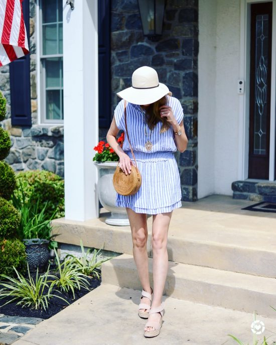 Instagram Roundup- Summer 2018- blue and white striped sundress, sun hat, rattan bag