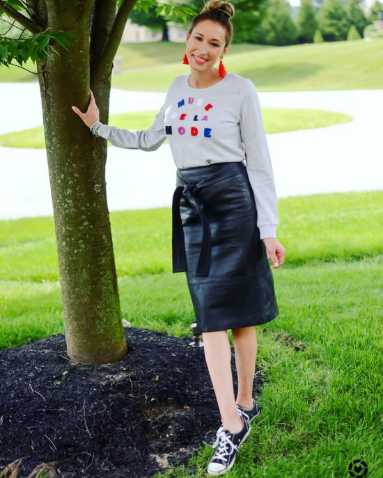 Instagram Roundup- Summer 2018- graphic sweatshirt and leather skirt