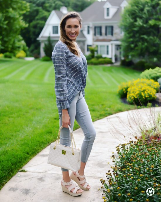 Instagram Roundup- Summer 2018- summer-to-fall outfit with white quilted bag and wedges