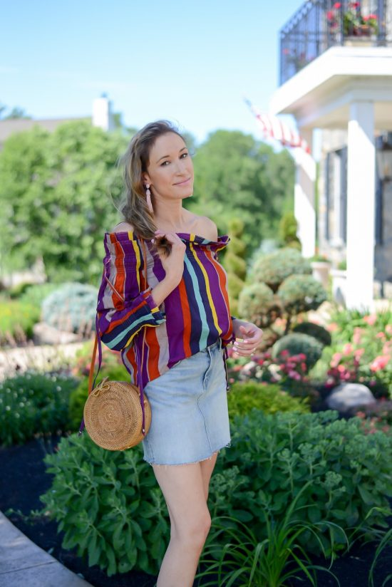 Thrifty Thursday (Vol. 3) striped off the shoulder top, denim mini skirt