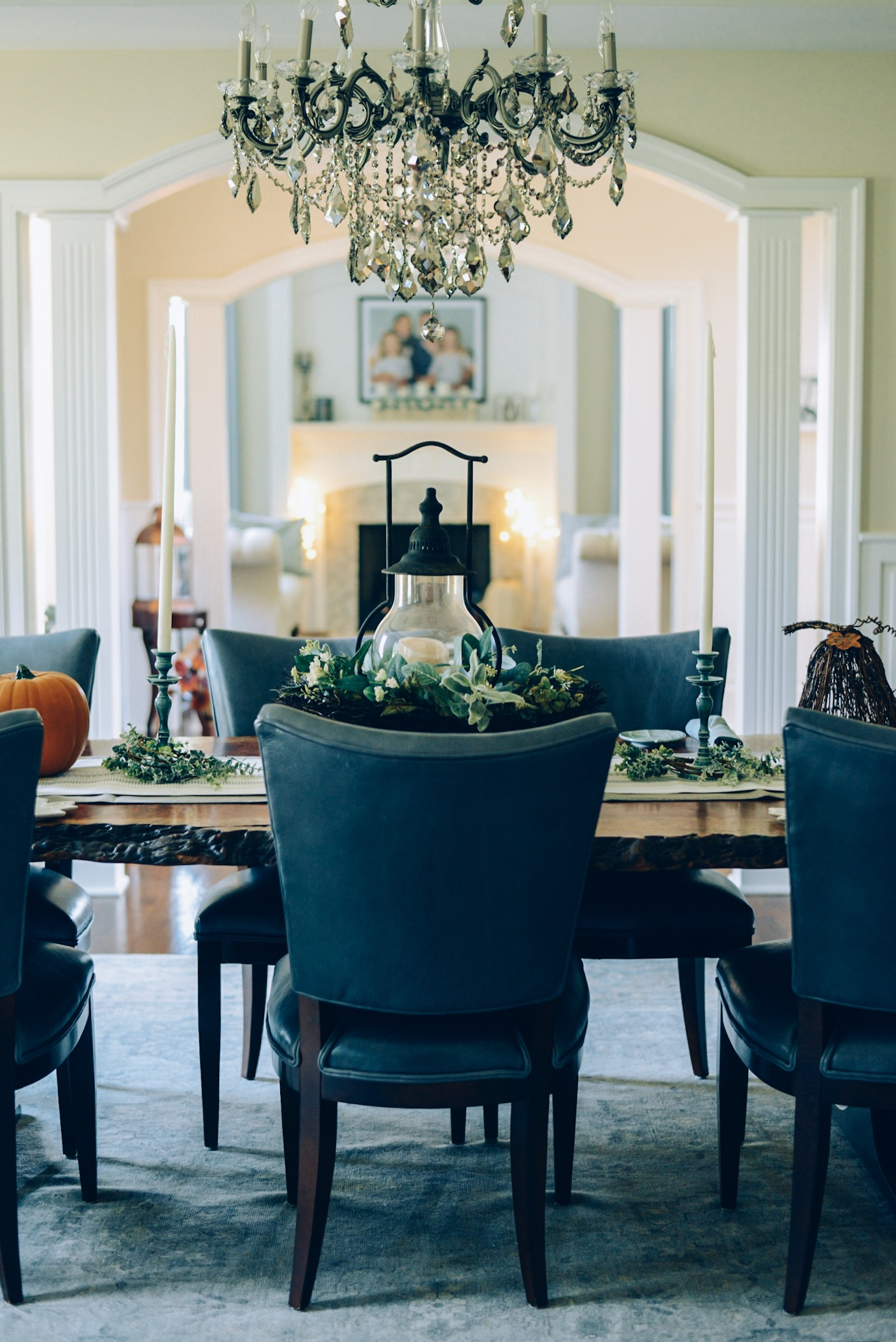 How I decorated my home interior for fall- dining room and formal living room ideas. fall decor, eucalyptus wreaths