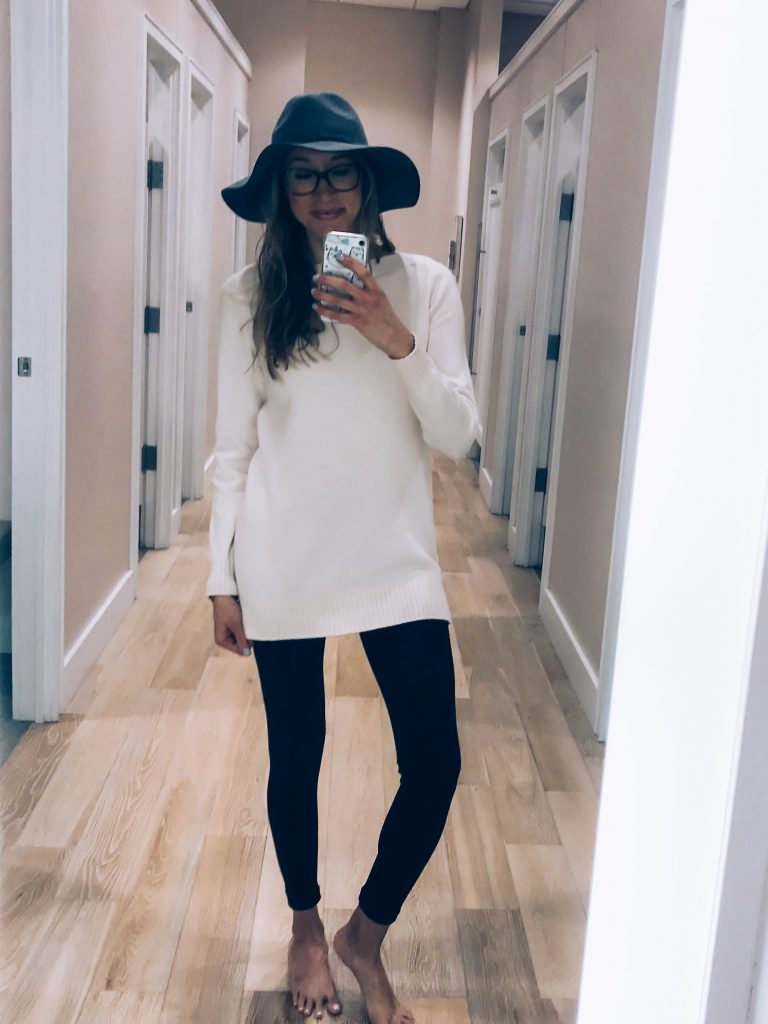 Loft try-on and haul winter 2018- tunic sweater, fedora, leggings