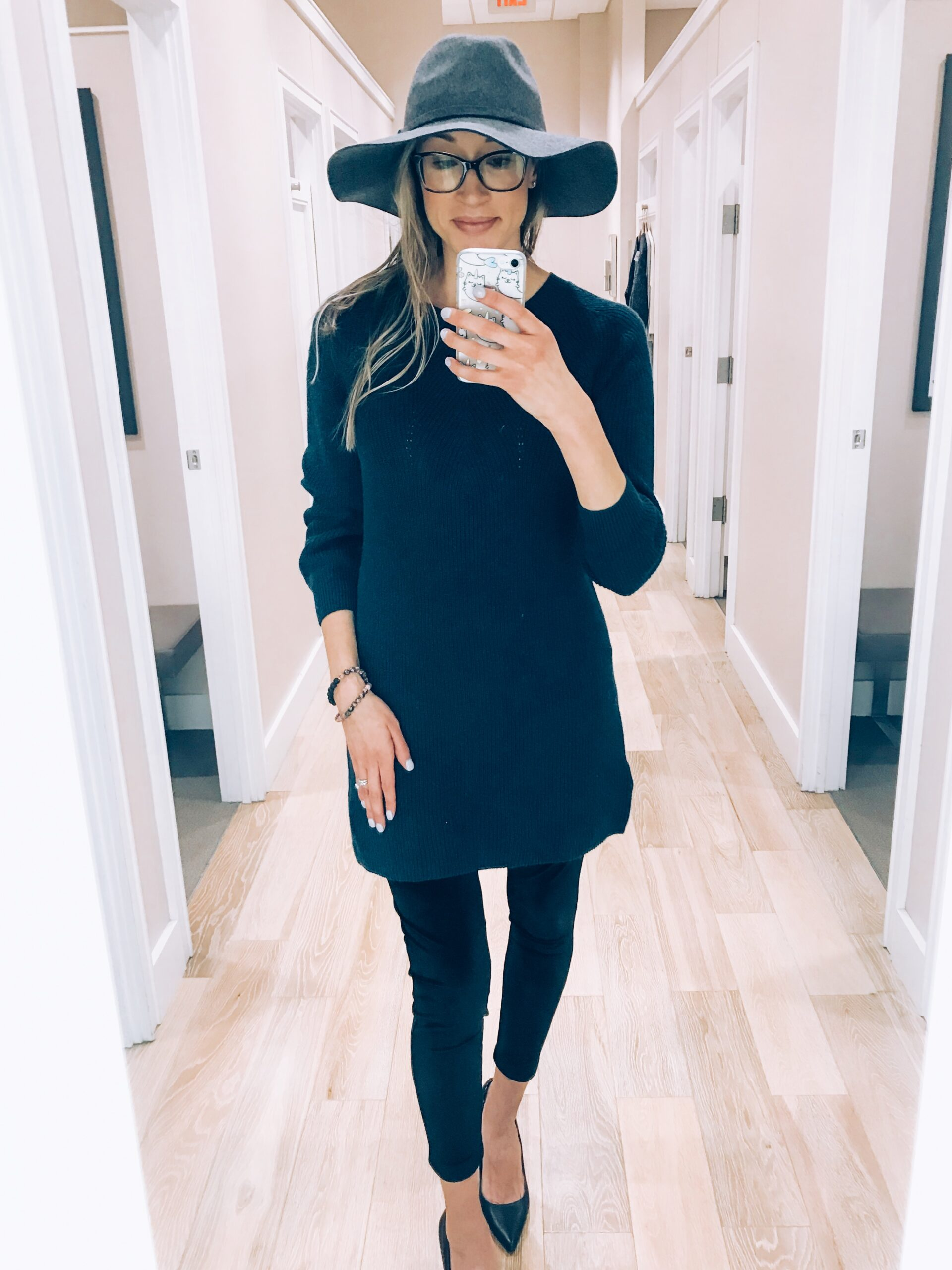 Loft try-on and haul winter 20180 sweater dress, velvet leggings, and fedora