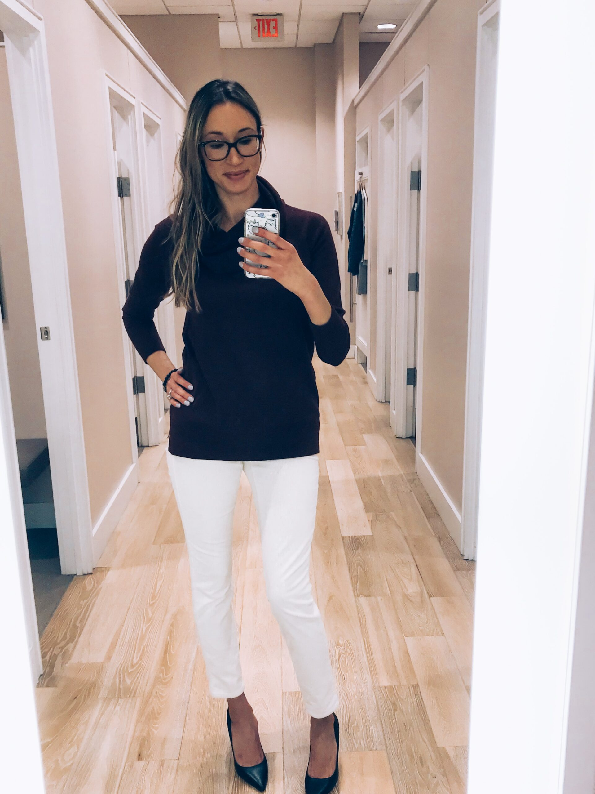 loft haul and try-on winter 2018- cowl neck sweater with white corduroys