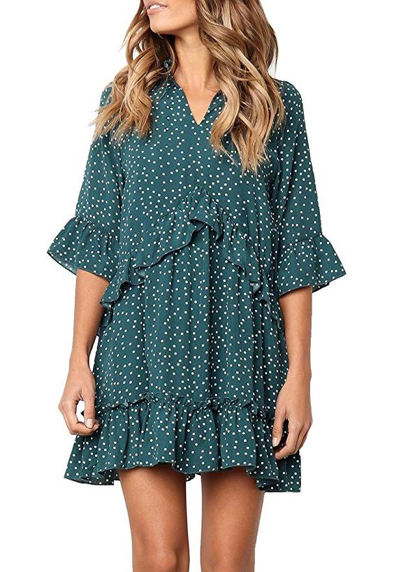 56f546dc572 I want this little polka dot mini dress! The ruffles are just darling!  Layer it over tights or leggings on chillier days or if you have to cover  up a bit ...