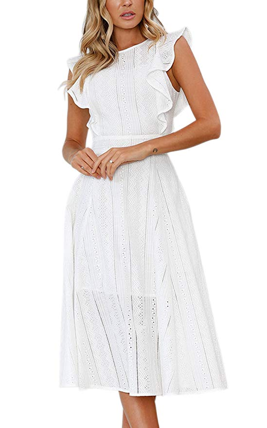 ea72bb0e1cfa How perfect is this eyelet dress for Easter or a spring bridal shower? The  ruffles make it super sweet, and the a-line cut and midi length make it  suitable ...